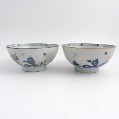 Pair Of Chinese Blue And White Porcelain Bowls, Nanking Cargo, Christies Labels