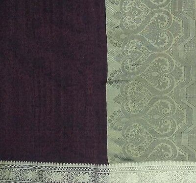 Vintage Brown Saree Pure Silk Woven Craft Fabric Sari Premium 5 Yd