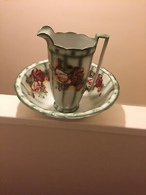 antique wash hand basin and bowl c1920's floral design. Very ornate.