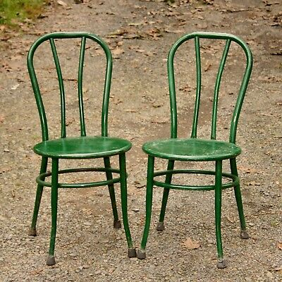 Pair Of Vintage All Metal Green Paint  Kitchen Parlor Patio Chairs - Solid-