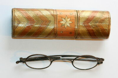 Italy  C1830 , Straw Work Spectacles Case Etui , Good Cond.+ Eyeglasses,