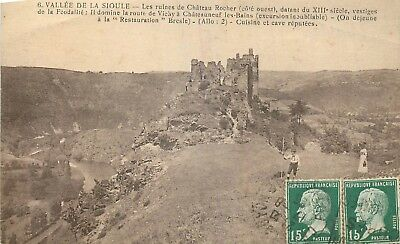 Cp Vallee De La Sioule Ruines Chateau Rocher Animees