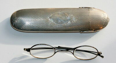 Dated 1880 ,george Unite, Silver Spectacles Case Etui + Eyeglasses, V. Good Cond