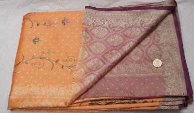 Vintage Embroided Art Silk Sari Change Color in Light 2 Tone Woven Heavy Saree