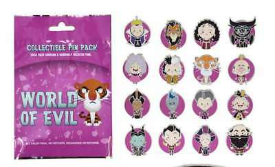 Disney Parks World Of Evil 5 Pin Mystery Bag 5 Trading Pins Pack Sealed New