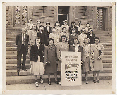 vtg 8x10 photo - General Electric women employees voting rights Newark NJ