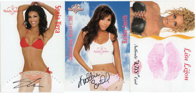 LOT of three (3) Bench Warmer Autographs & Kisses cards
