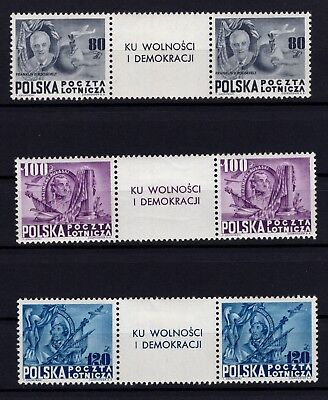 P98695/ POLAND / AIRMAIL / SG # 645a / 645c IN PAIRS MNH COMPLETE 320 €