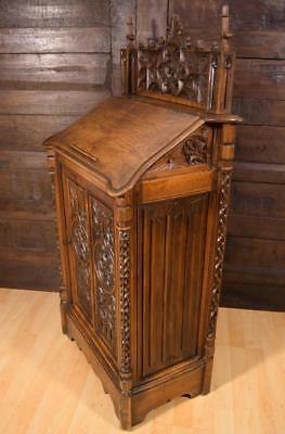 French Antique Gothic Revival Book Display Stand/Lectern Cabinet in Walnut