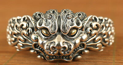 Fine S925 solid Silver Valuable Hand Carved buddha exquisite kylin Bracelet