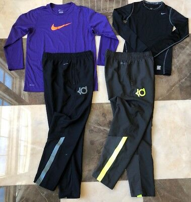 (4) Pc Boys NIKE Athletic Lot, KD basketball pants, LS Shirts, M (10-12)