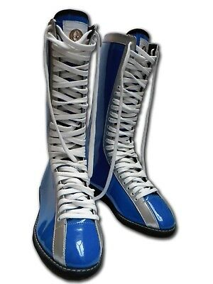 LUCHADORA Mexican Lucha Libre wrestling Wrestler blue silver boots adult size