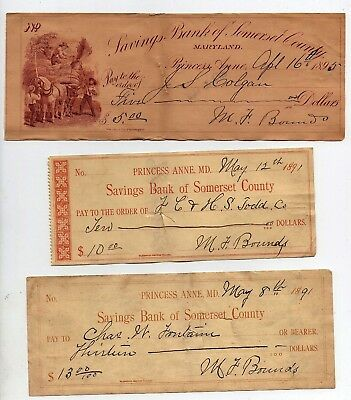 1891 Savings Bank of SOMERSET COUNTY PRINCESS ANNE MD  obsolete currency check