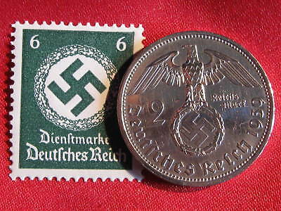 Old German NAZI WAR COIN 1939WWII w/Sw. +RARE STAMP