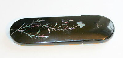C 1880 English Laquered Spectacles Case Etui Mother Of Pearl & Abalone Inset