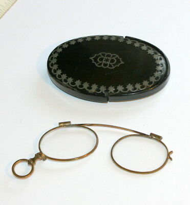 Folding Pince Nez Spectacles With Its Case Etui, Case 3 In Long