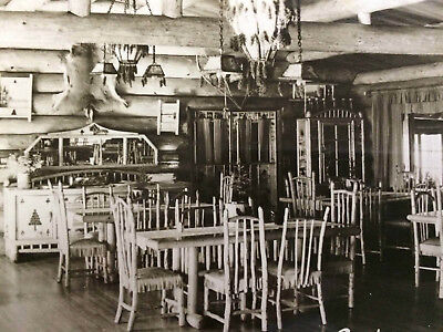 Rppc  Gateway Lodge Interior, Grand Marais, Minn Mn  Rustic Dining Decor