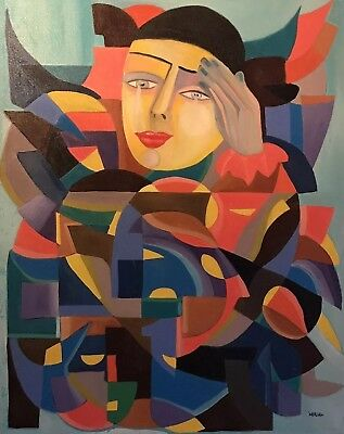 Beatrice Werlie (1974) Huge French Cubist Portrait Of Pierrot - Amazing Colours