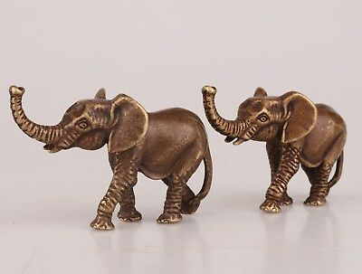 2 Rare ChinA Bronze Hand-Carved Elephant Animal Statue Figurine Old Collection