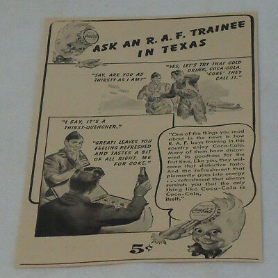 1943 WWII Coca-Cola print ad ~ ASK AN R.A.F. TRAINEE IN TEXAS