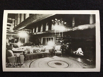 Rppc  Gateway Lodge Interior, Grand Marais, Minn Mn  Rustic Lounge Area