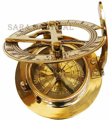 Vintage Nautical Shiny Brass Sundial Compass Marine Compass Collectible Gifted