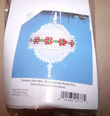 Design Works CRYSTAL FLORAL Jeweled Satin Ball Ornament Kit