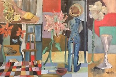 Beatrice Werlie (1974) Large French Modernist Oil - The Artists Atelier Interior
