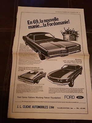 1969 Ford Mach 1 Mustang, Torino French Canadian Newspaper Ad