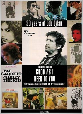 """1992 Bob Dylan """"Good As I Been To You"""" Album Release Vintage Print Advertisement"""