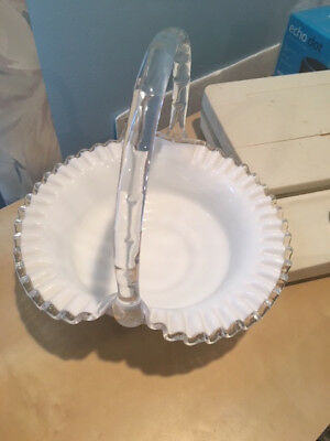 Vintage Glass WhiteClear Candy dish/basket shaped with handle