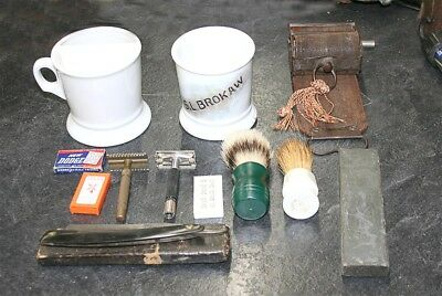 Early Wade & Butcher  Straight Razor w/ Strop and Shaving Mugs