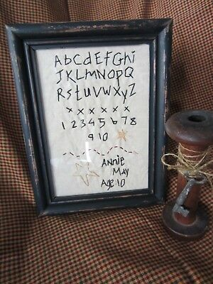 Primitive Shabby OOAK Schoolgirl 5x7 Framed Stitchery Sampler w/Glass Alphabet