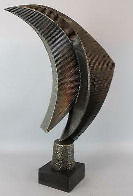 Large Signed John Roper Abstract Modernist Iron Alloy Textured Sculpture, NR