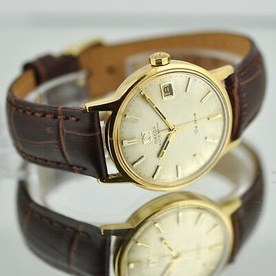 Swiss Omega Automatic Geneve Ref 166.070 Gold Plated Quickset Date Vintage Dial