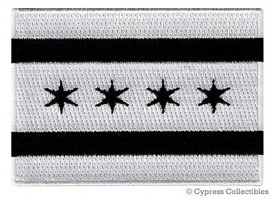 CHICAGO BIKER PATCH BLACK iron-on EMBROIDERED MOTORCYCLE CITY FLAG ILLINOIS