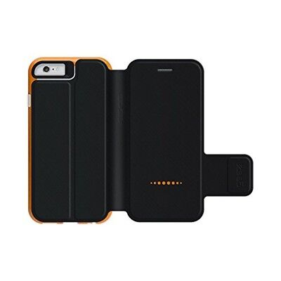 Black/Orange Flip Cover For Apple iPhone 6/6S Book Style D3O Oxford Case Gear4