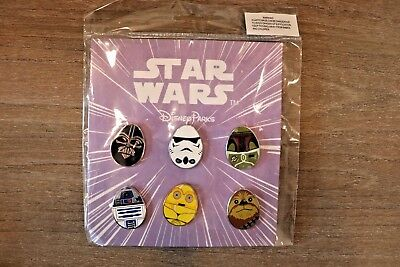 DISNEY PARKS Star Wars 6 Pin Set 2016 Darth Vader R2-D2 Chewie EASTER EGGS New