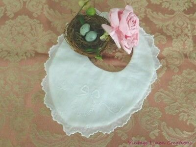 AnTiQuE BABY BIB * Gorgeous EMBROIDERY & SCALLOPED * Reborn Doll * Vintage Bear
