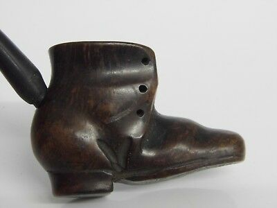 Antique Smokers Pipe Carved Wood BOOT / SHOE Shape Pipe Treen Vintage