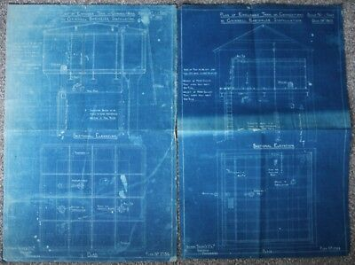 2x Original 1900 Grinnell Sprinkler Dowson Taylor & Co Manchester Blueprint Plan