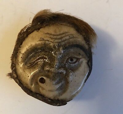"Antique Signed Japanese Carved Netsuke Mask  ""Hyottoko"""