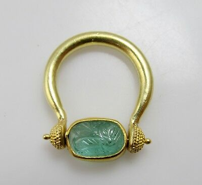 Vintage Egyptian Style 22K Yellow Gold Carved Emerald Swivel Ring