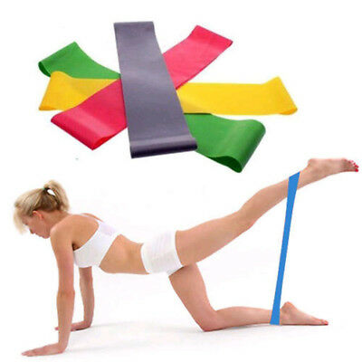 Resistance Band Loop Yoga Pilates Home GYM Fitness Exercise Workout Training CB