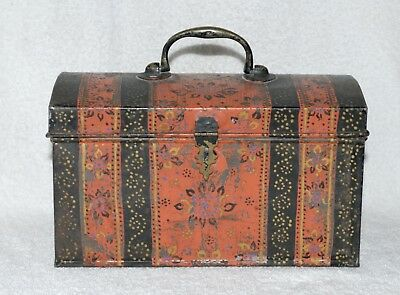 ANTIQUE HAND PAINTED TIN TOLEWARE DOCUMENT BOX - NEW YORK - 19th C.