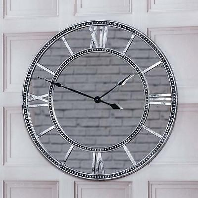 Bargains-Galore 55Cm Round Vintage Antique Mirrored Roman Numerals Wall Clock