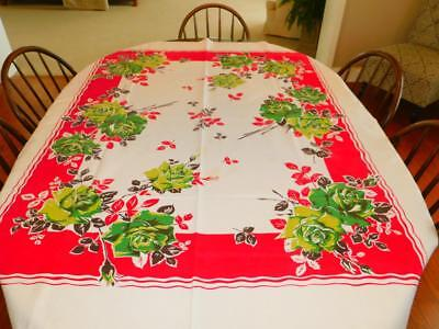"""Vintage Heavy Cotton TABLECLOTH 53x68"""" HUGE GREEN ROSES Red Brown Floral"""