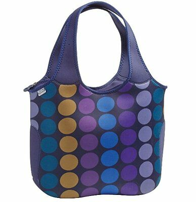 BUILT NY Essential TOTE Bag Carrier NEOPRENE Large BLUE Plum DOTS Laptop Office