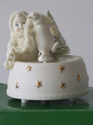 "SNOWBABIES ""SKATING WITH FRIENDS"" MUSIC BOX Plays Sugar Plum Fairy DEPT 56"