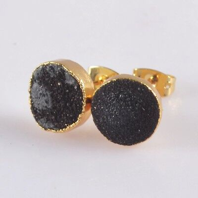 10mm Round Black Agate Druzy Geode Stud Earrings Gold Plated T073277